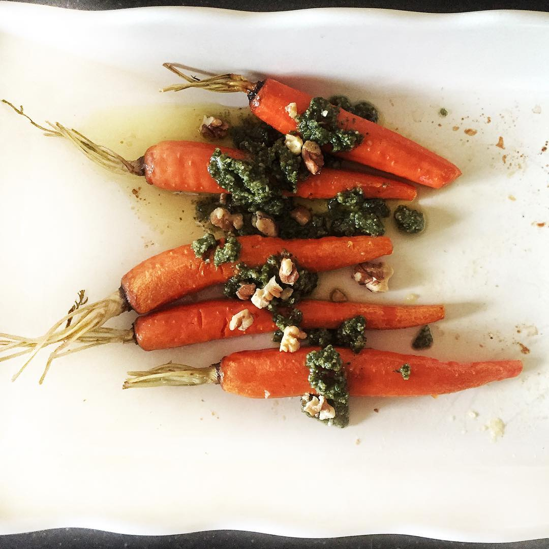 carrot top pesto  roasted carrots