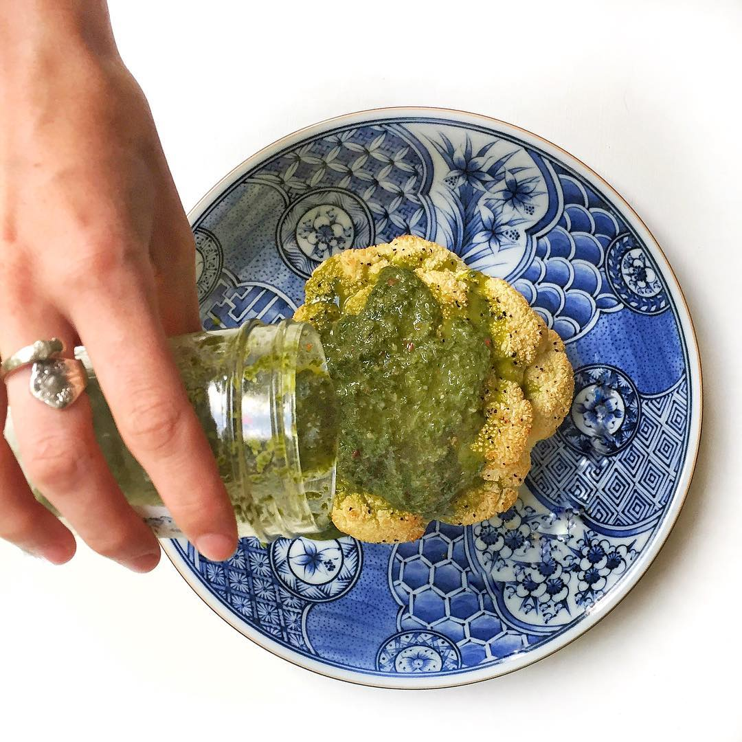 Chimichurri is great on steaks Even cauliflower steaks veggiepower