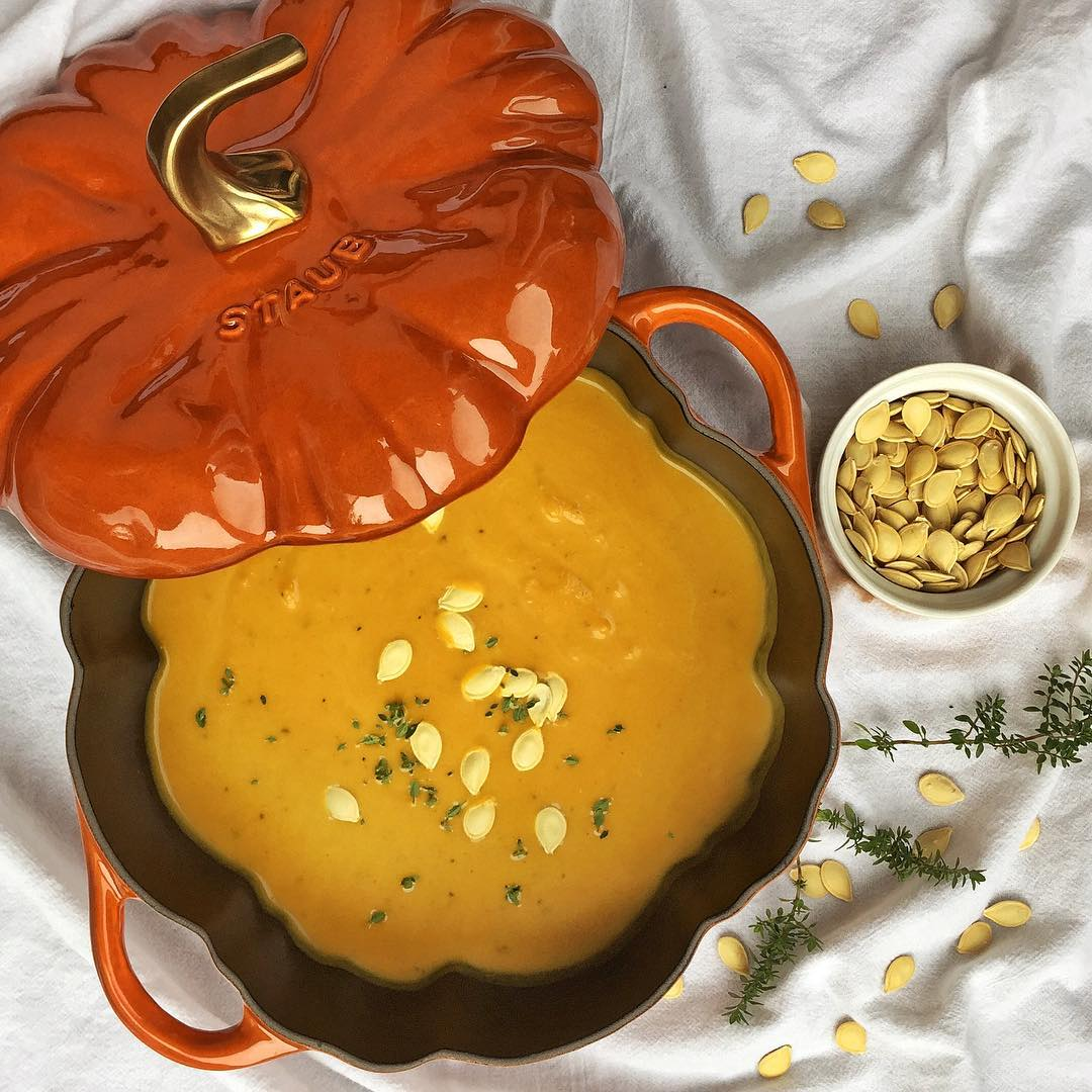 Pumpkin Soupa perfect starter for our thanksgiving meal!
